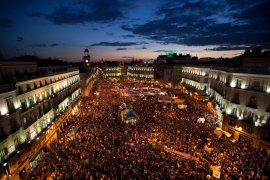 """Imagen aérea de la Plaza del Sol, en Madrid, durante los """"29 días de indiganación"""" (Associated Press)"""